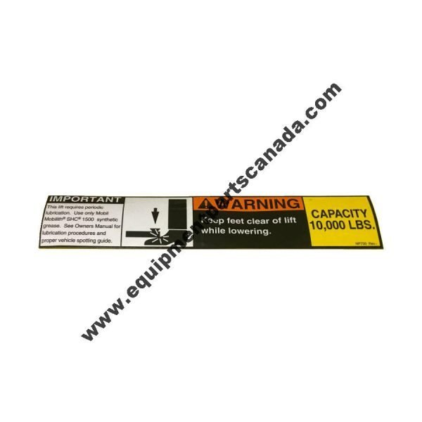 """ROTARY SAFETY WARNING LABEL """"KEEP FEET CLEAR"""" WITH CAPACITY OEM NP730"""