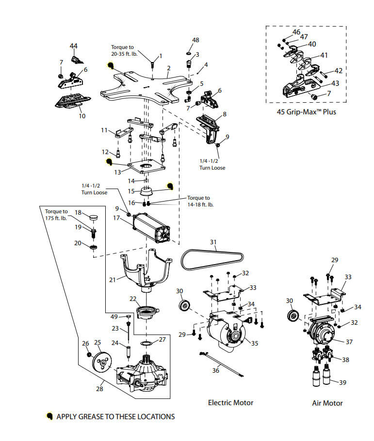 COATS TIRE CHANGER ROTARY TABLE PARTS BREAKDOWN