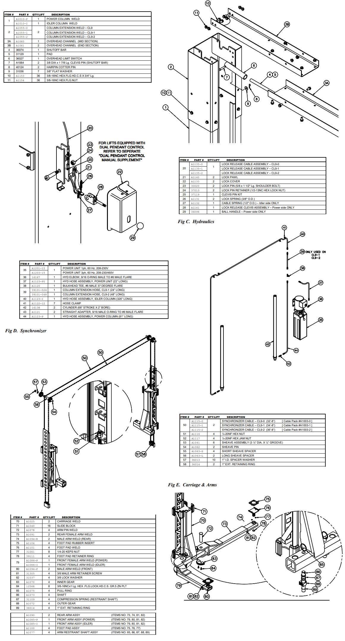 CL9 2 post lift parts list