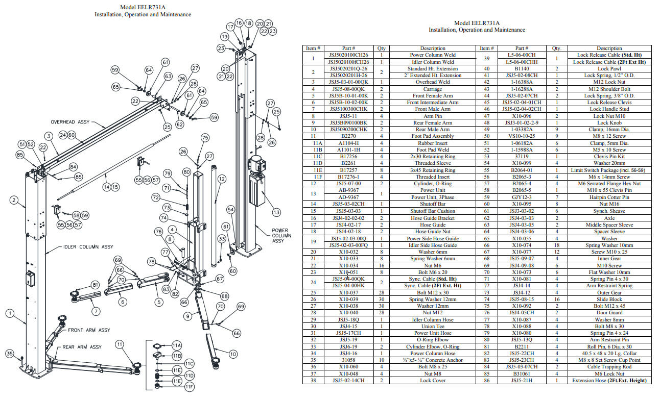 EELR731A Challenger 2 post lift part manual