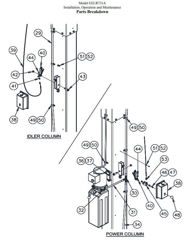 EELR731A Challenger 2 post lift safety lock parts manual