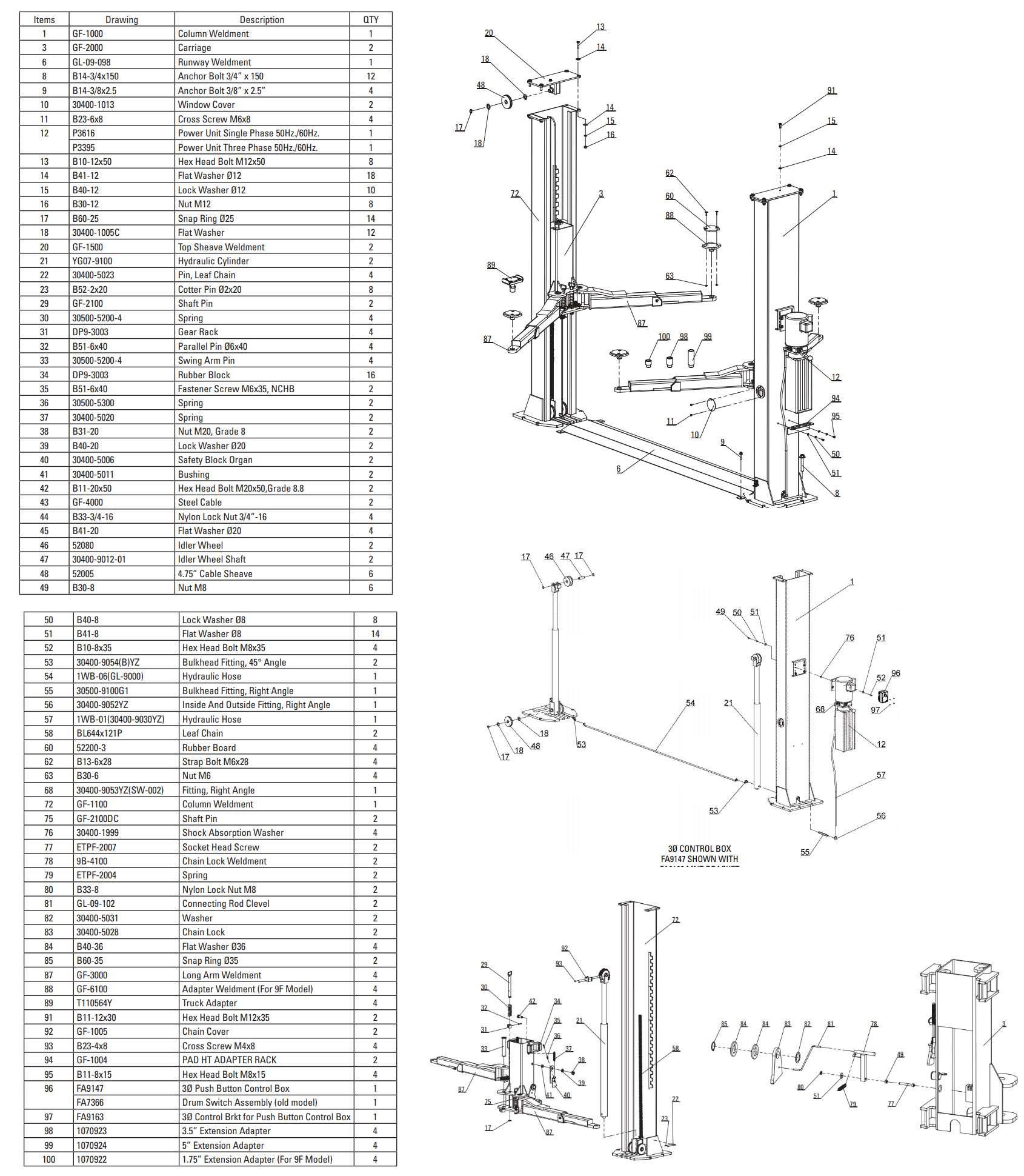 Fortward RTP9 2 post lift parts