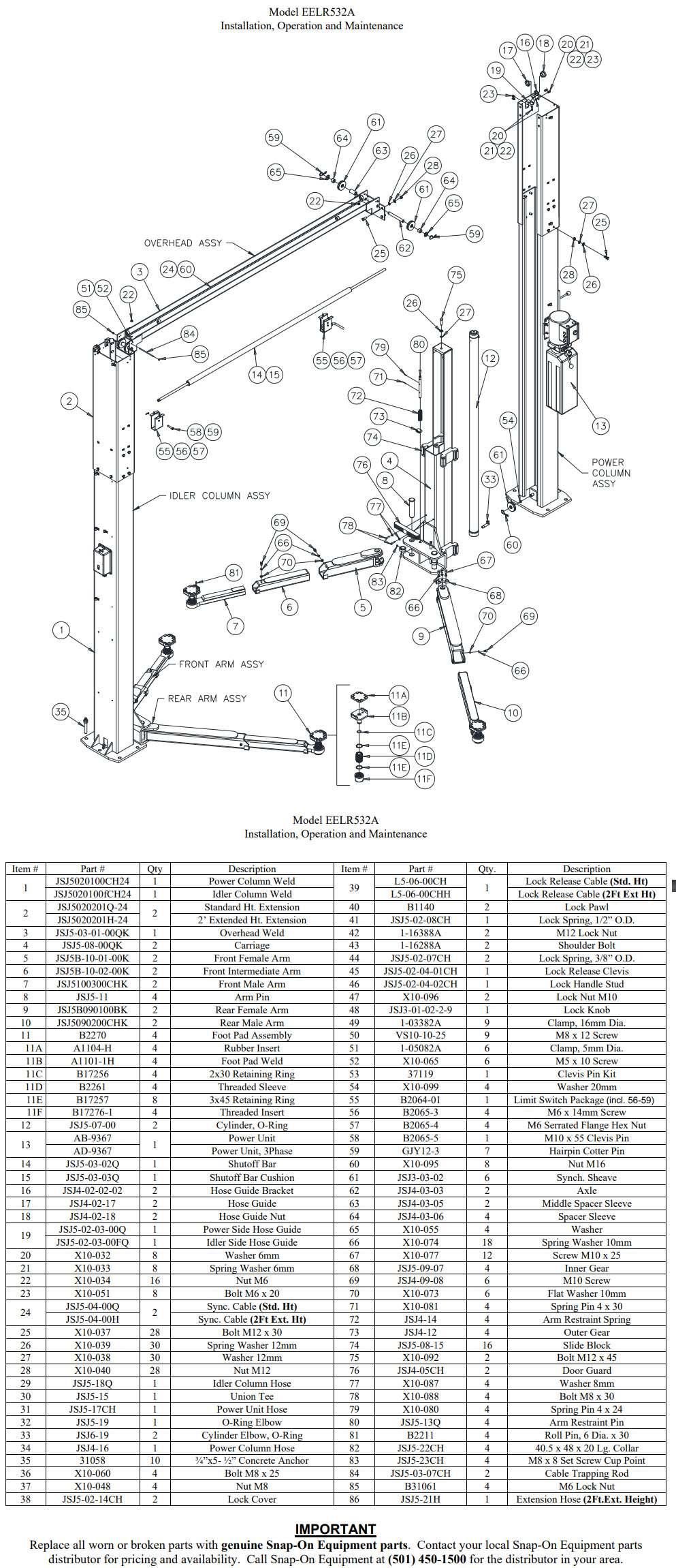 EELR532A 2 post part breakdown