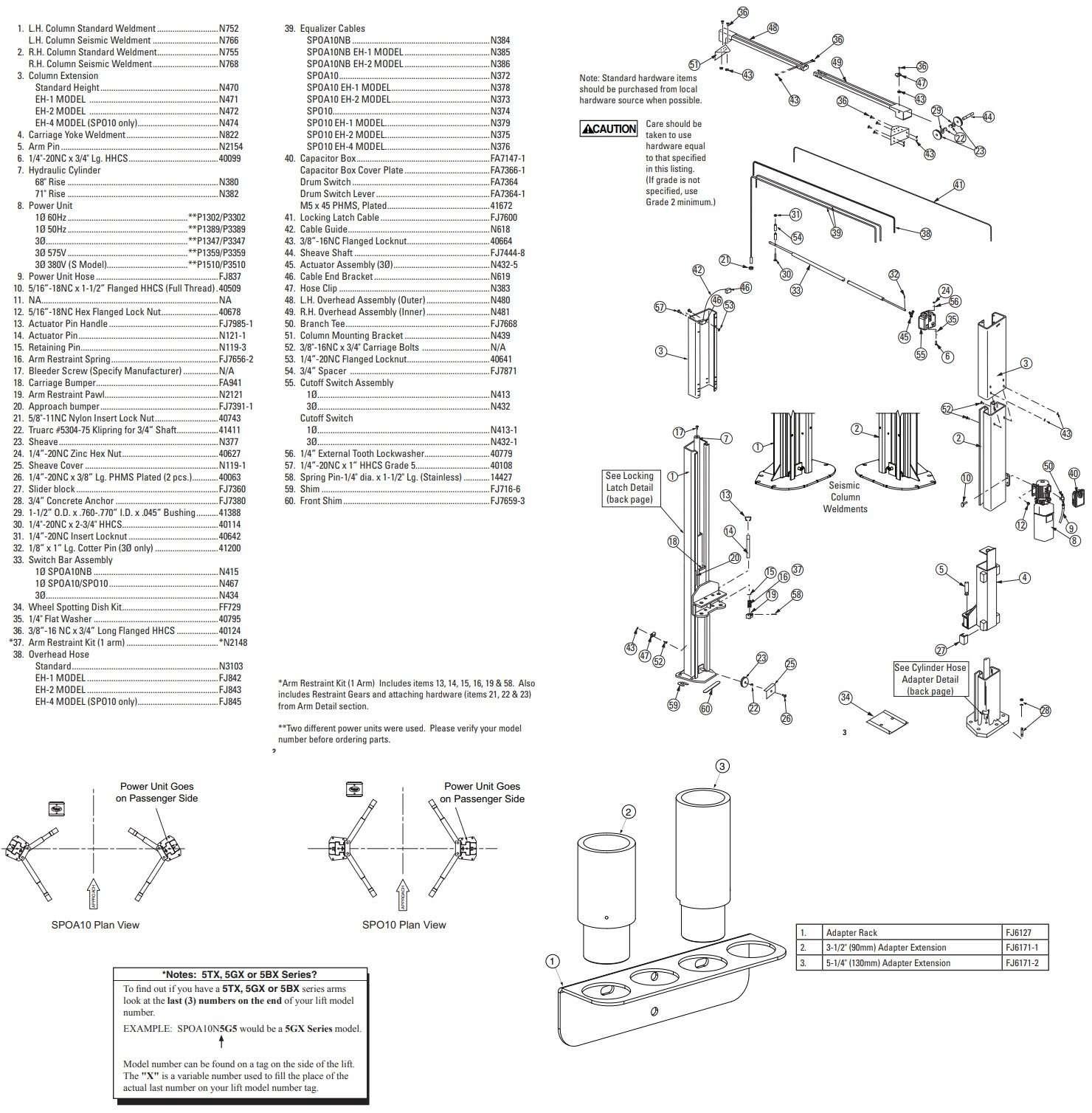 Rotary 2 post SPOA7 Parts Manual