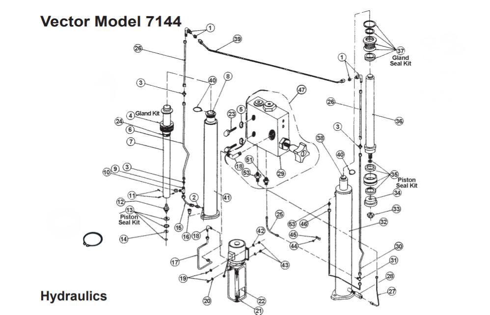7144 Wheeltronic 2 post Vector Model hydraulic parts breakdown
